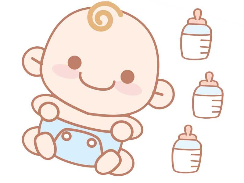 赤ちゃんと大量のミルクのイラスト