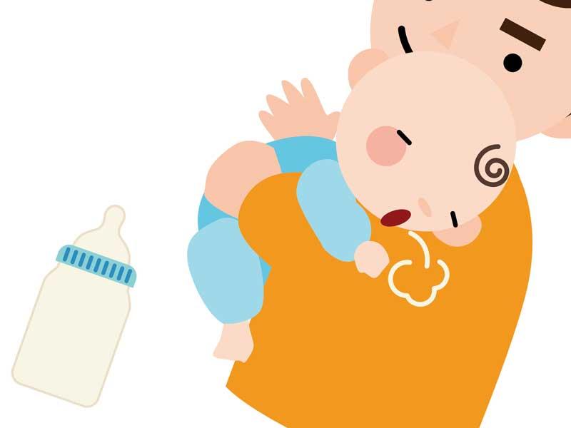 ミルクを飲み終わってゲップをした赤ちゃんのイラスト