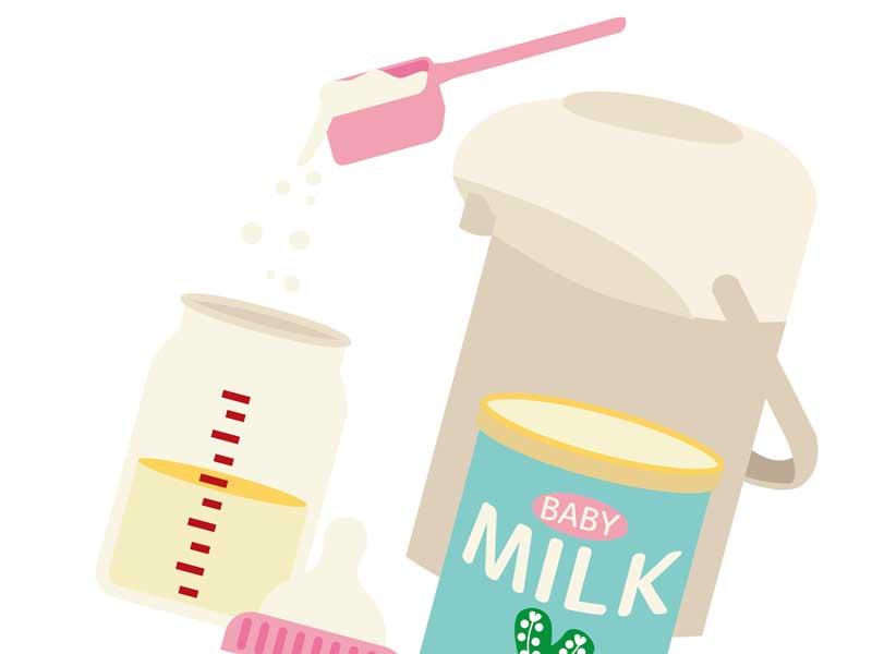 ポット、哺乳瓶とミルクのイラスト