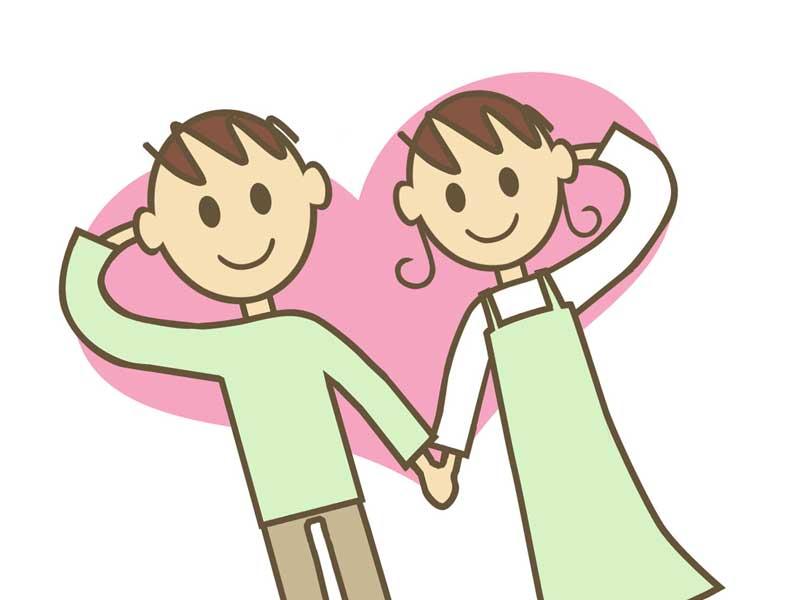 腕でハートの形を作っている仲がいい夫婦のイラスト