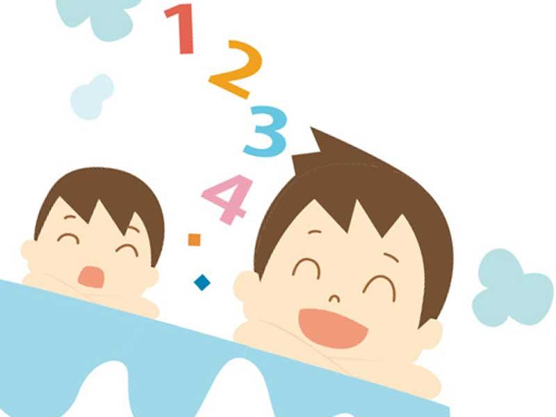 子供と一緒にお風呂をしているお父さんのイラスト