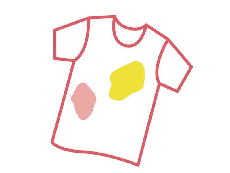 シミが付いている赤ちゃんの服のイラスト