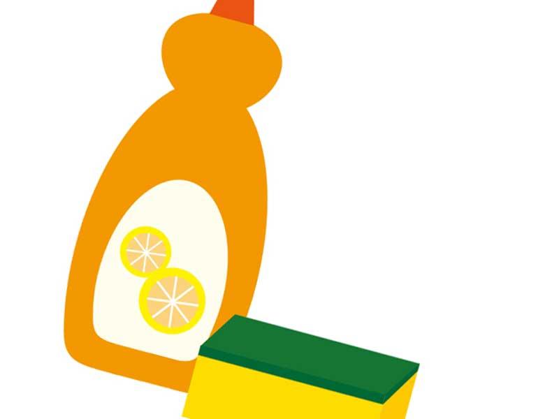 台所用の洗剤とスポンジのイラスト