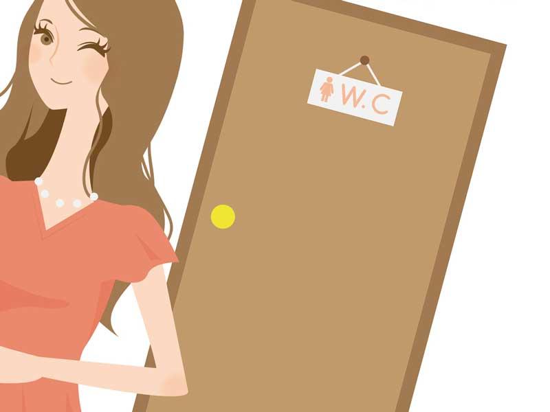 トイレから出てきた女性のイラスト