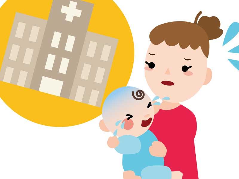 赤ちゃんを病院に連れて行くお母さんのイラスト