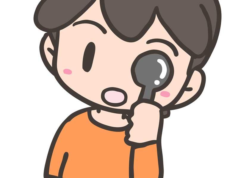 遮蔽法で視力検査をしている子供のイラスト