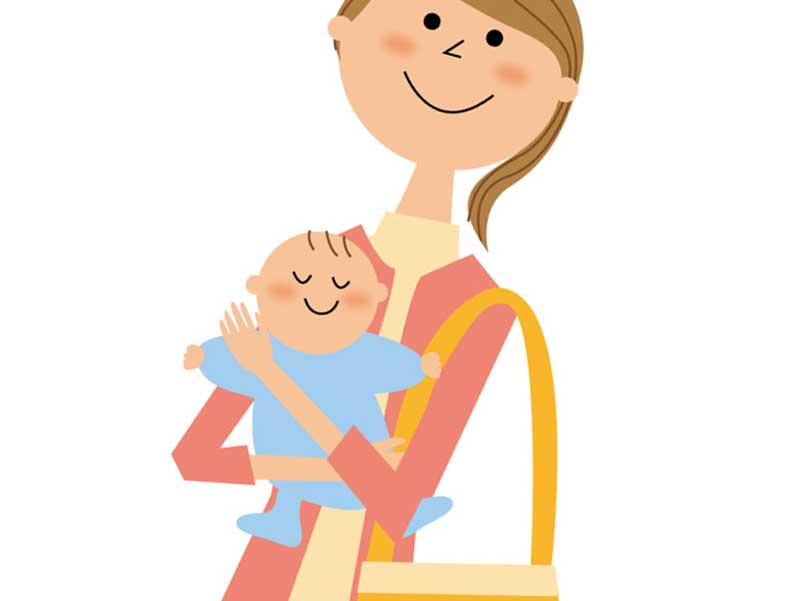 赤ちゃんを抱っこして出かける育児中のお母さんのイラスト