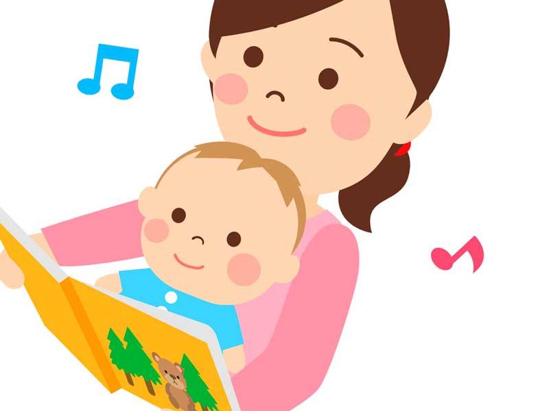 子供に絵本を読んでいるお母さんのイラスト