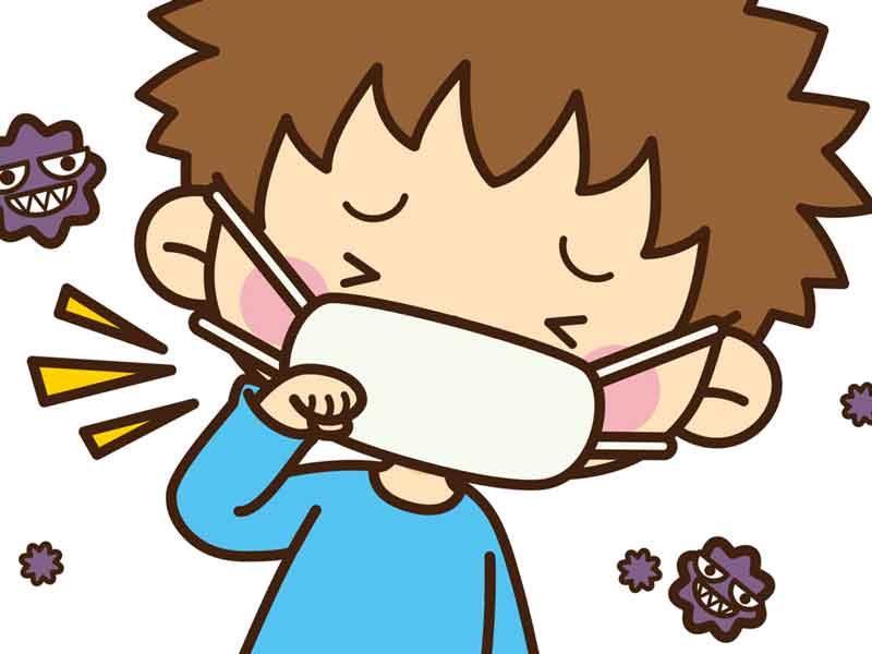 風邪を引いた子供のイラスト