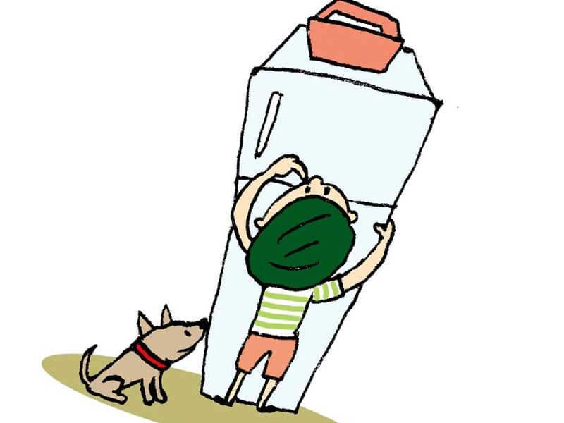 子供の手が届かない冷蔵庫の上のイラスト
