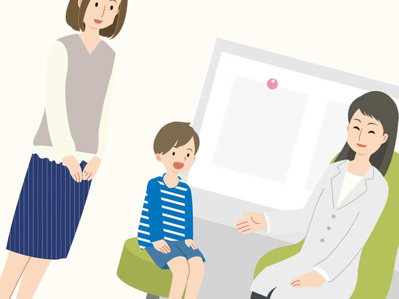 病院で診察をしている子供のイラスト