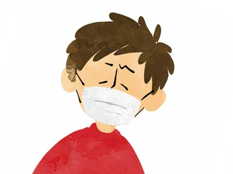 アレルギーでマスクをしている男性のイラスト