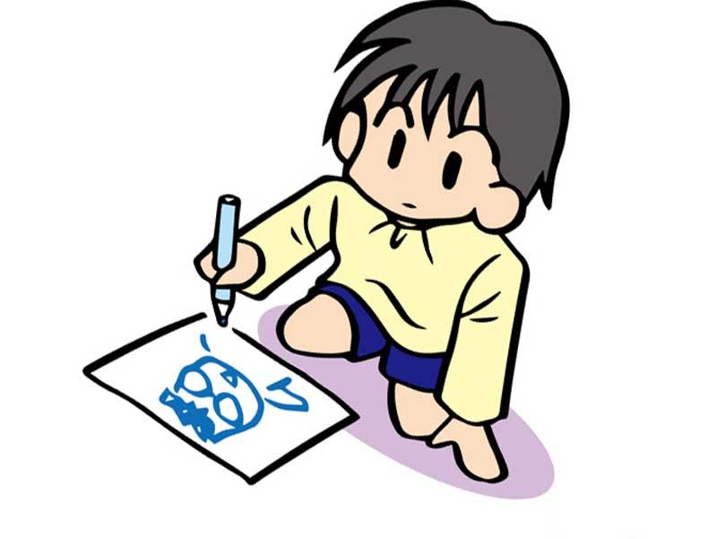 集中して絵を描いている子供のイラスト