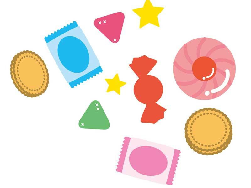 各種類のお菓子のイラスト