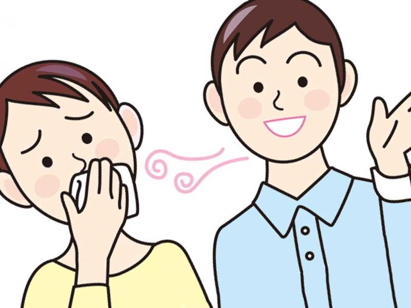 男性の口臭を嫌がる女性のイラスト