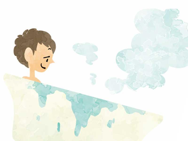お風呂を入る男性のイラスト