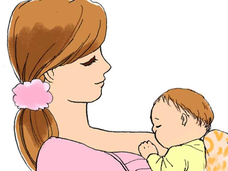 赤ちゃんに授乳をしているお母さんのイラスト