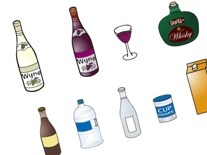 料理用のアルコール各種のイラスト