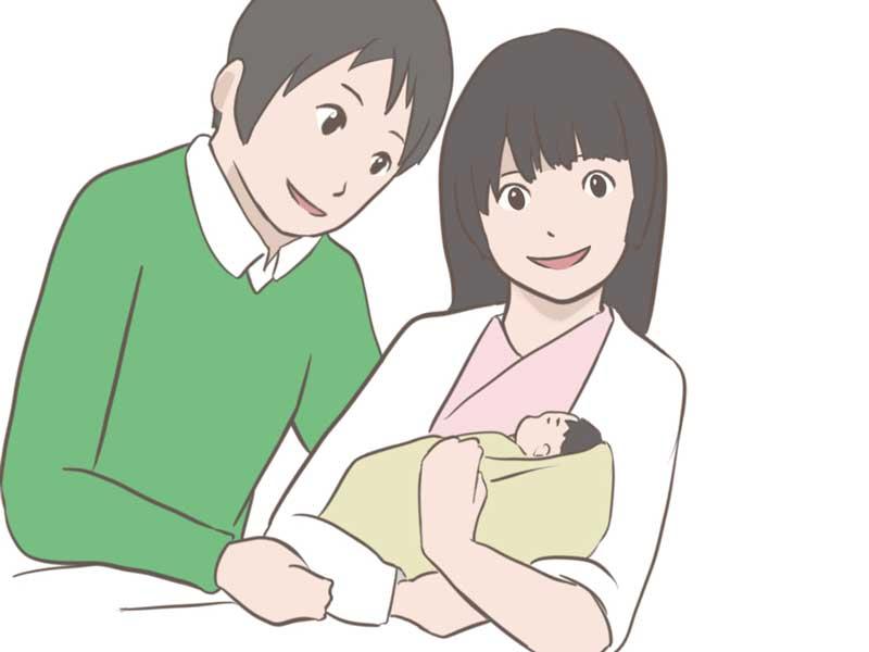 産院で出産した赤ちゃんとお母さんのイラスト