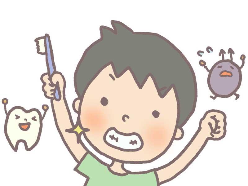 虫歯を防いで歯が丈夫になった歯磨きをしている子供のイラスト