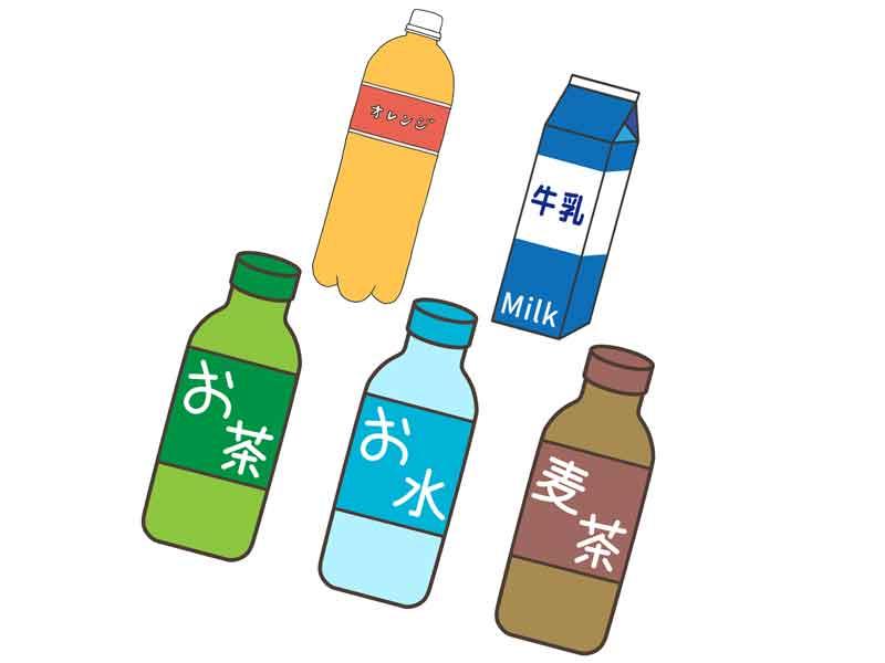 オレンジジュース、牛乳、お茶、水、麦茶のイラスト