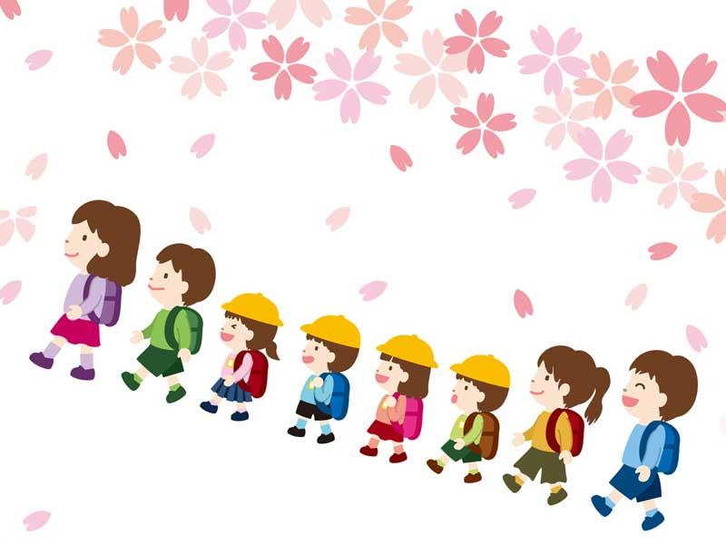 集団行動する小学生たちのイラスト