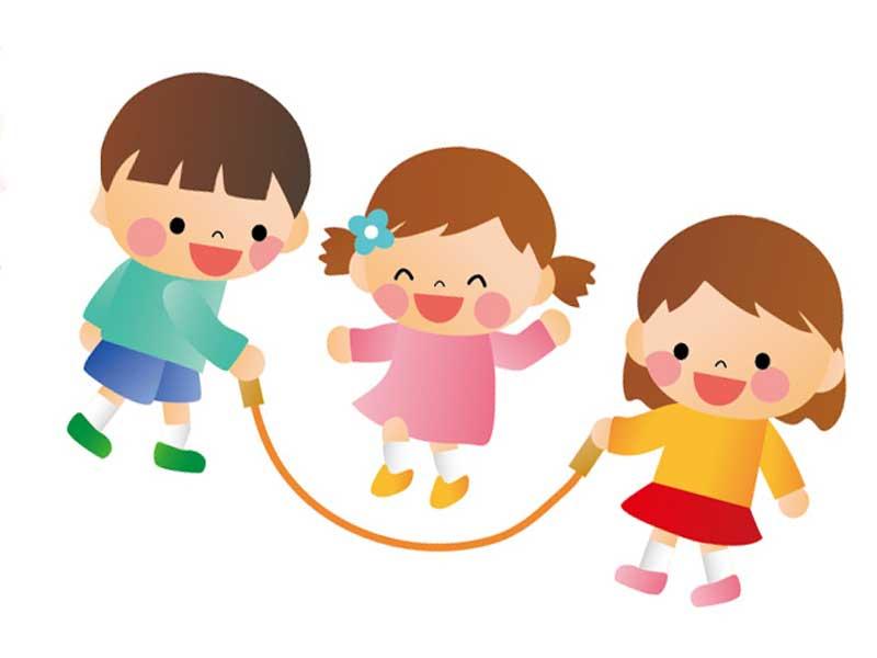 縄跳びして遊んでいる子供達のイラスト
