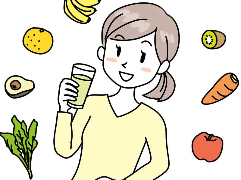 偏食無しで色んな食べ物を摂取する女性のイラスト