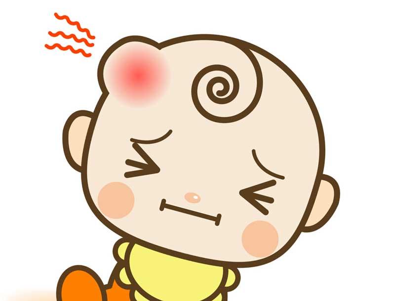 頭にたんこぶができている赤ちゃんのイラスト