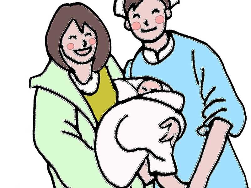 出産した赤ちゃんを抱っこして看護婦と話しするお母さんのイラスト