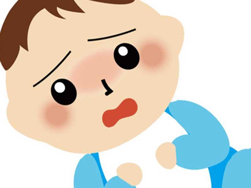 風邪を引いた顔が青白い赤ちゃんのイラスト