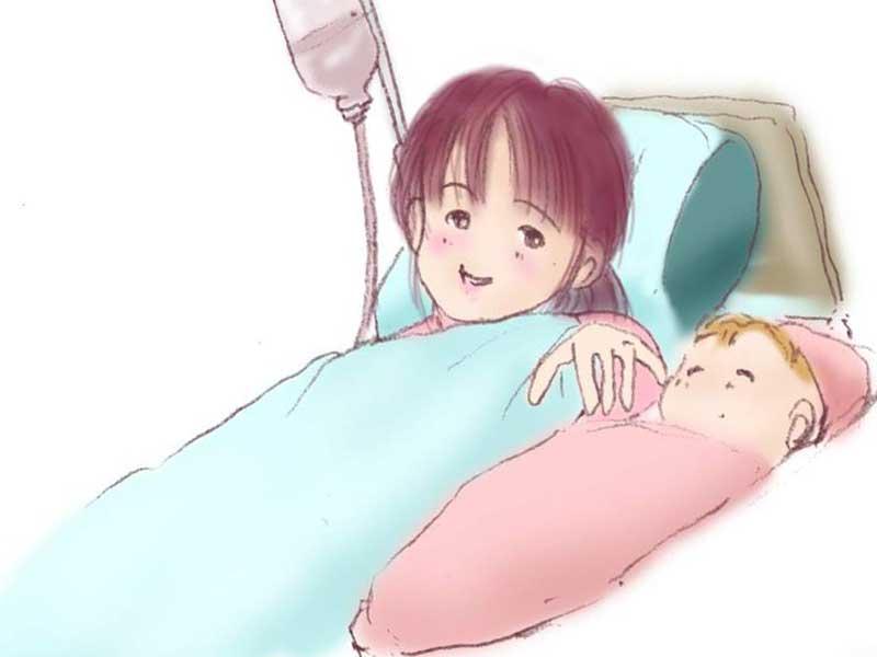 無事に生まれた赤ちゃんとお母さんのイラスト