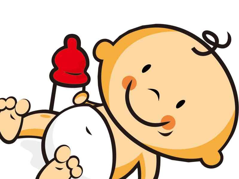 哺乳瓶を持っている赤ちゃんのイラスト