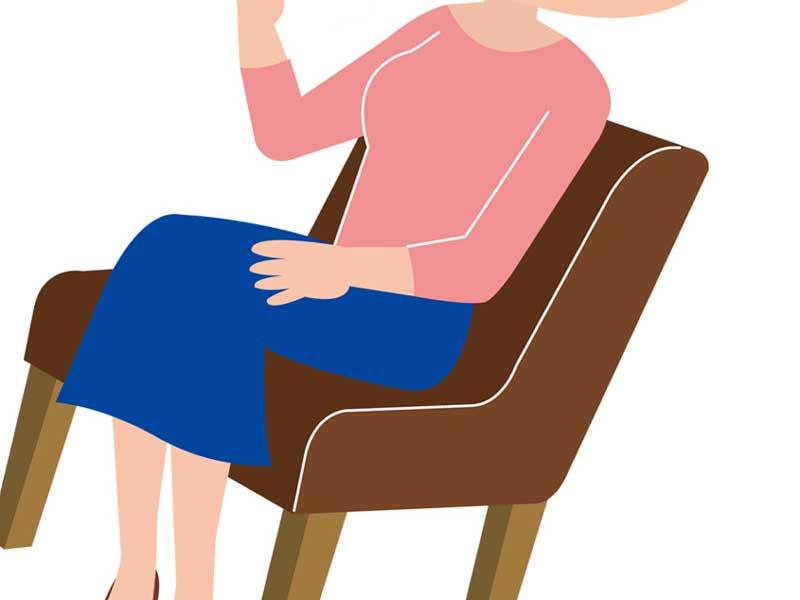 座っている女性のイラスト