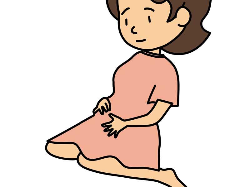 女の子座りをしている妊婦さんのイラスト