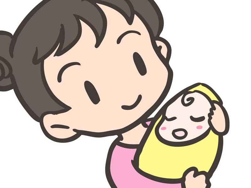 赤ちゃんを抱っこしているお母さんのイラスト