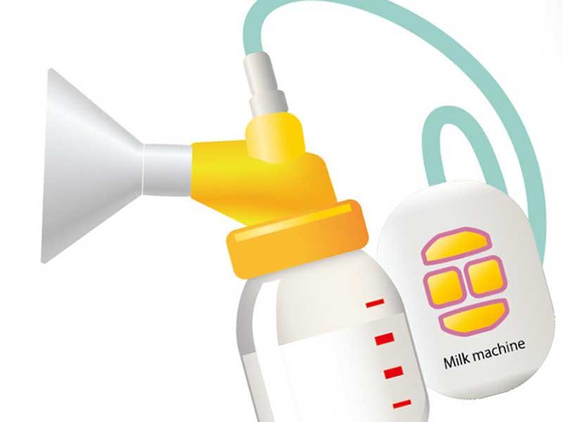 母乳の搾乳器のイラスト