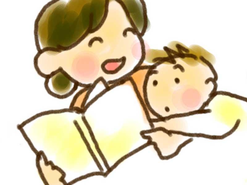 赤ちゃんに絵本を読むお母さんのイラスト