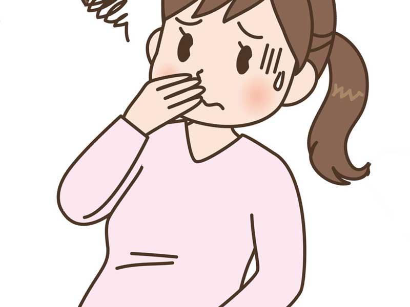 つわり中の妊婦さんのイラスト
