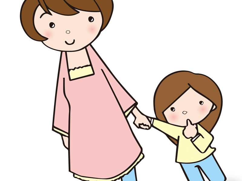 子供を連れて保育園を見学するお母さんのイラスト