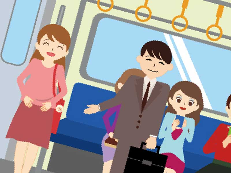 電車の中で妊婦に席を譲る男性のイラスト