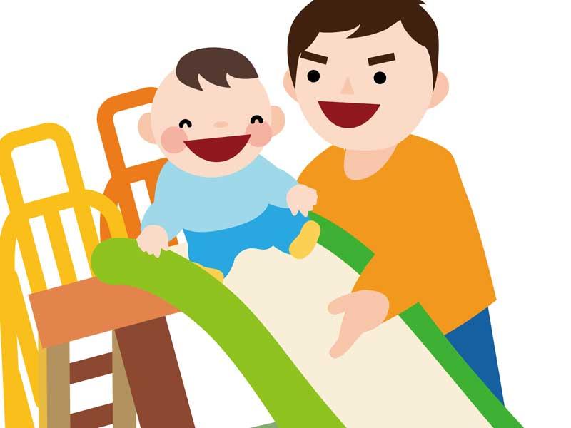 子供を連れて遊んでいるお父さんのイラスト