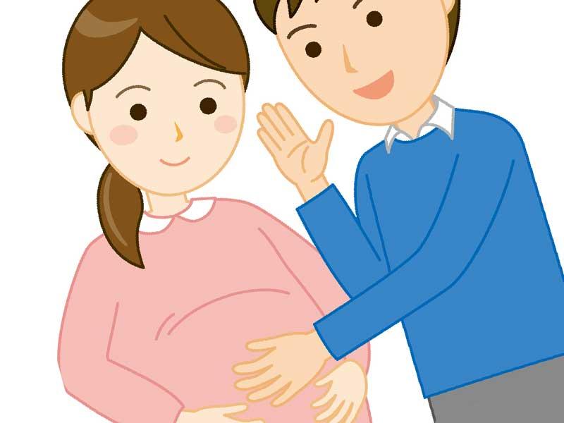 妊娠中の妻に優しい旦那のイラスト