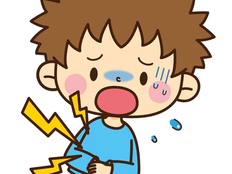 お腹を痛がっている子供のイラスト
