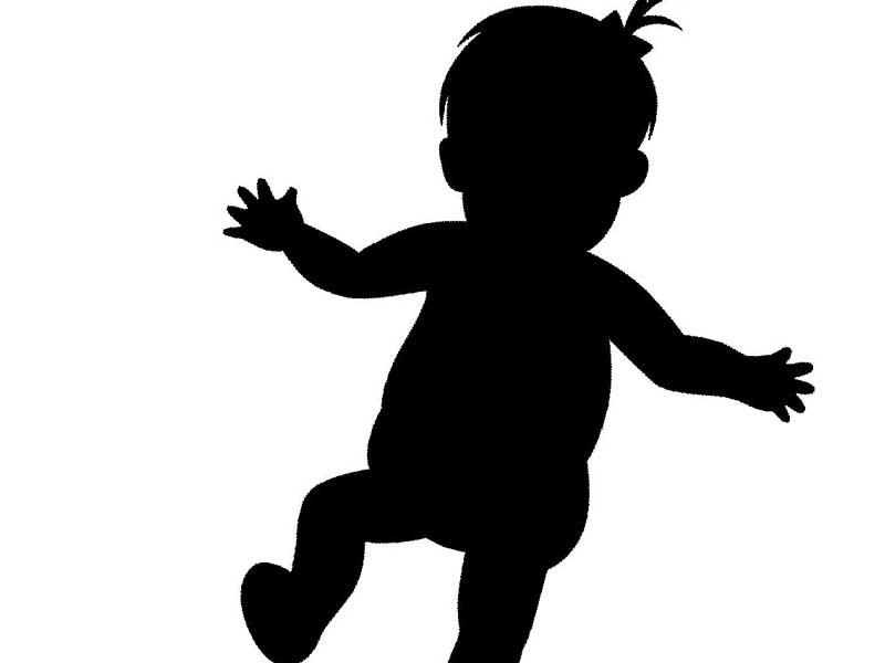 投げる赤ちゃんのイラスト