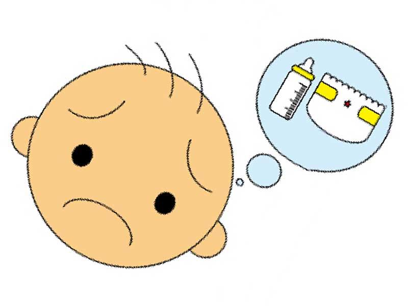 オムツと哺乳瓶のことを考えて悲しそうな顔をしてる子供のイラスト