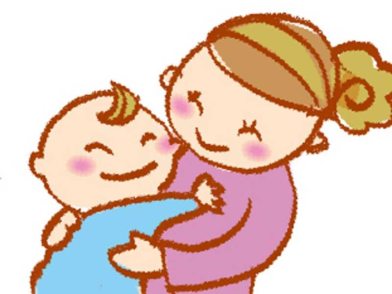 母親が大好きで抱きついている子供のイラスト