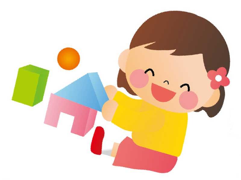 一人で遊ぶ子供のイラスト