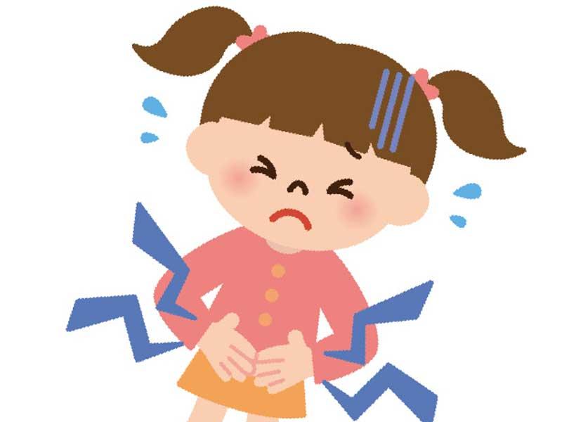 腹痛の子供のイラスト