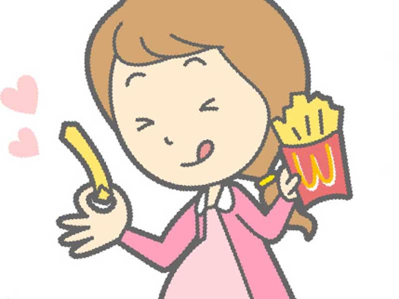 フライトポテトを食べる太っている妊婦のイラスト